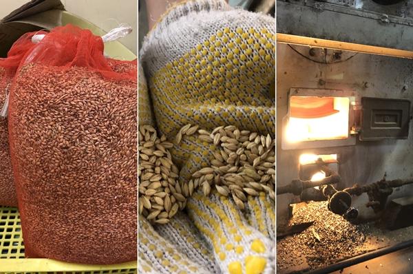 脱穀した大麦を職人技「砂釜焙煎」で「むぎこがし」に