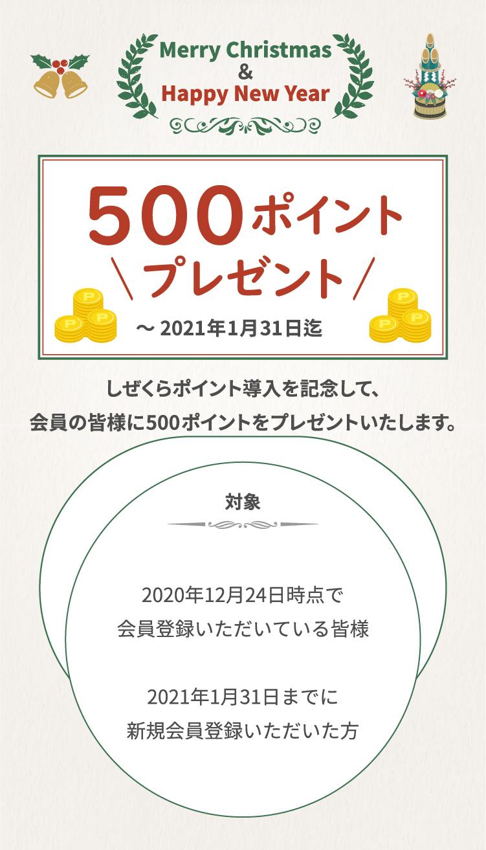 500ポイントプレゼント。2021年1月31日まで。